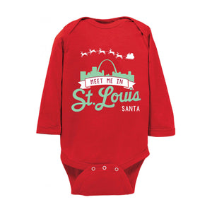 Meet Me In St. Louis Santa Long Sleeve Baby Onesie - Red