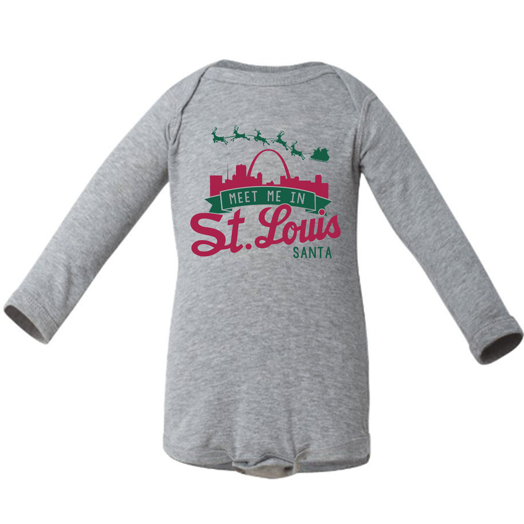 Meet Me In St. Louis Santa Long Sleeve Baby Onesie - Gray