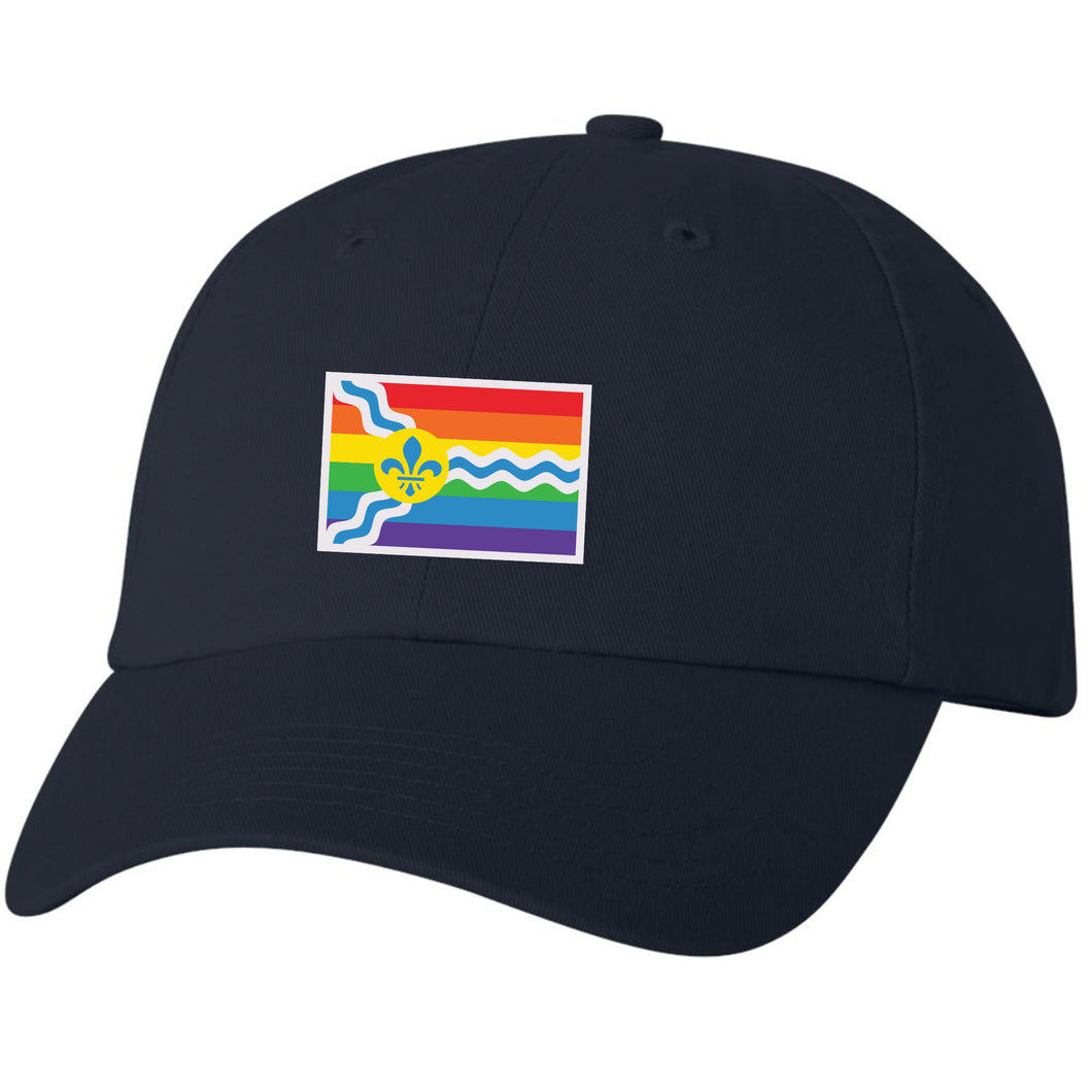 St. Louis Pride Flag Unisex Soft Style Hat - Navy