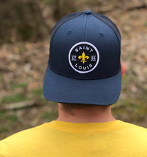 Load image into Gallery viewer, Saint Louis Fleur Patch Snapback Trucker Hat - Navy