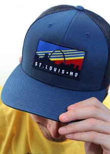 Retro Skyline Patch Snapback Trucker Hat - Navy
