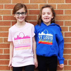 Pink Retro St. Louis Arch Short Sleeve Youth T-Shirt