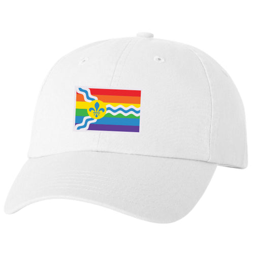 St. Louis Pride Flag Unisex Soft Style Hat - White