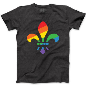 Fleur De Lis Rainbow Short Sleeve Unisex T-Shirt - Gray