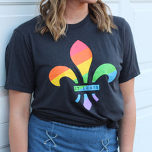 Load image into Gallery viewer, Fleur De Lis Rainbow Short Sleeve Unisex T-Shirt - Gray