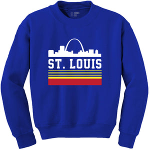 Retro St. Louis Arch Crewneck Unisex Sweatshirt - Royal