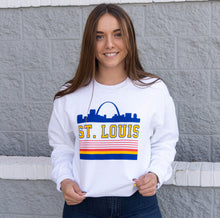 Load image into Gallery viewer, Retro St. Louis Arch Crewneck Unisex Sweatshirt - White
