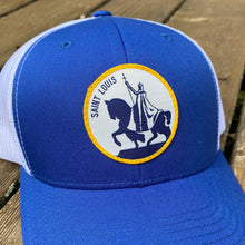 Load image into Gallery viewer, King Louis IX Patch Snapback Trucker Hat - Royal Blue
