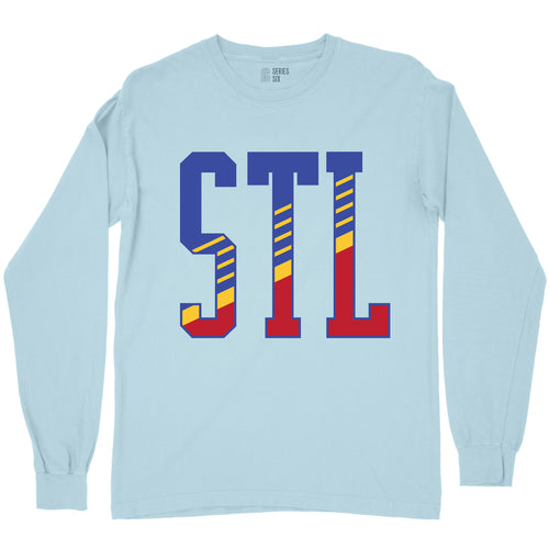 STL Retro Diagonal Unisex Long Sleeve T-Shirt - Blue