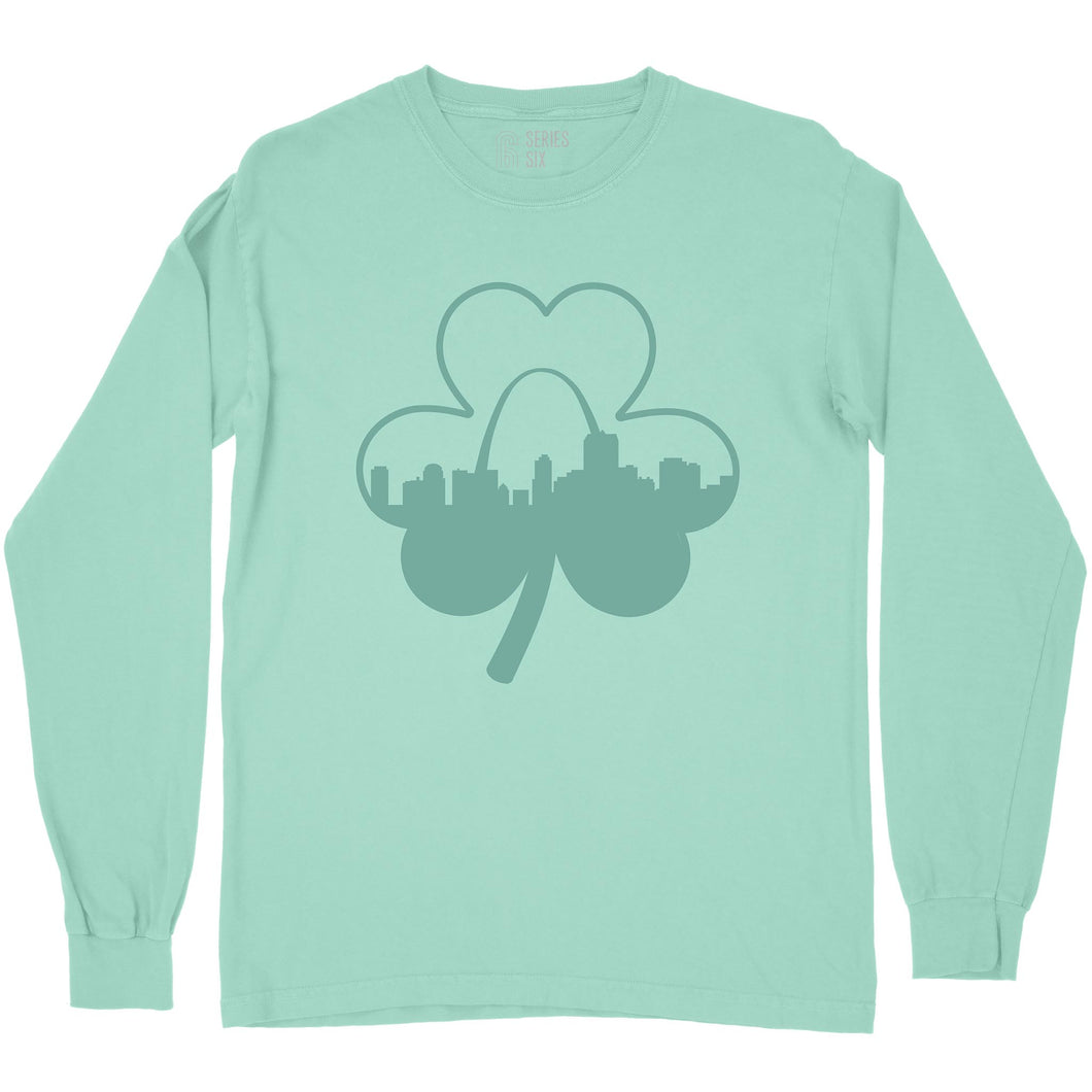 Shamrock St. Louis Skyline St. Patrick's Day Long Sleeve Unisex T-Shirt - Mint
