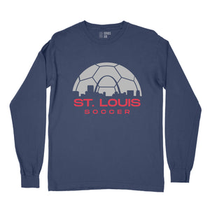 Soccer Skyline Long Sleeve Unisex T-Shirt - Navy