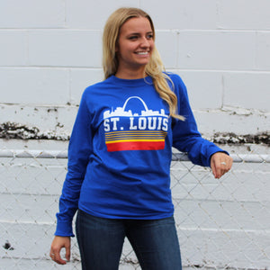Retro St. Louis Arch Unisex Long Sleeve T-Shirt - Royal