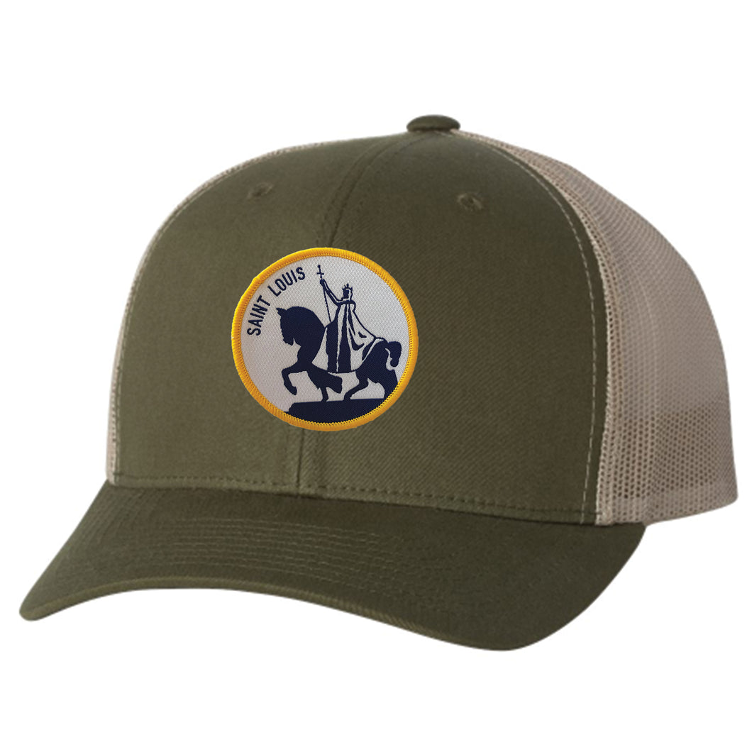 King Louis IX Patch Snapback Trucker Hat - Army Green