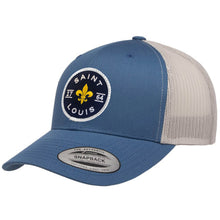 Load image into Gallery viewer, Saint Louis Fleur Patch Snapback Trucker Hat - Steel Blue
