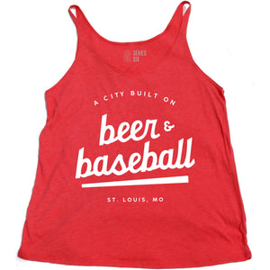 A City Built on Beer and Baseball Ladies Tank Top - Red