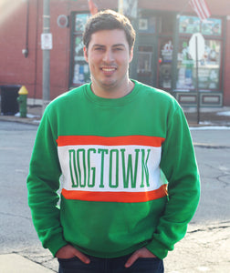 Dogtown Color Block Crewneck Unisex Sweatshirt - Kelly Green