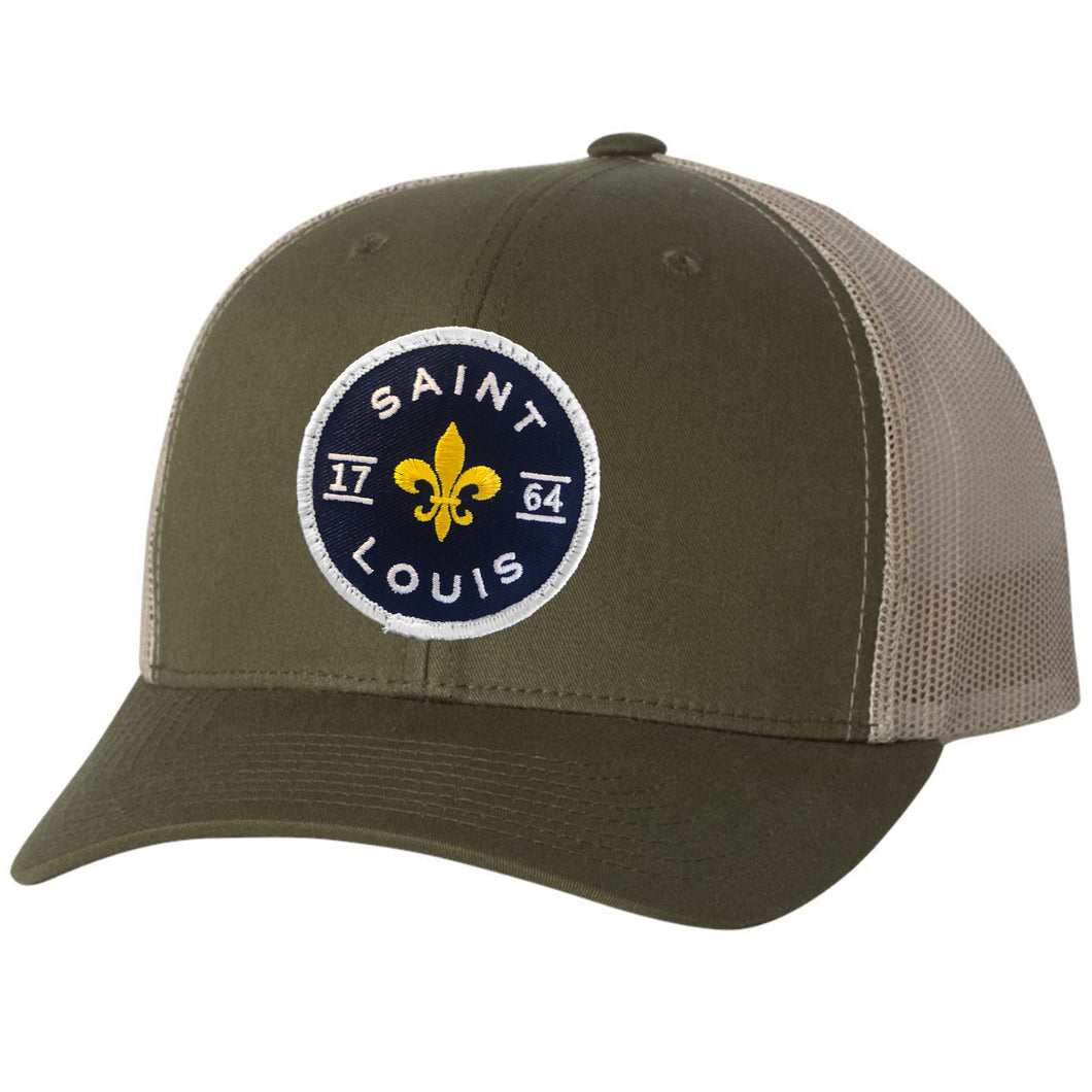 Saint Louis Fleur Patch Snapback Trucker Hat - Army Green
