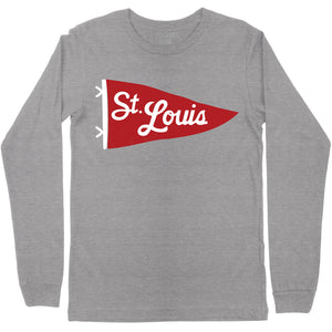 St. Louis Pennant Unisex Long Sleeve T-Shirt - Grey