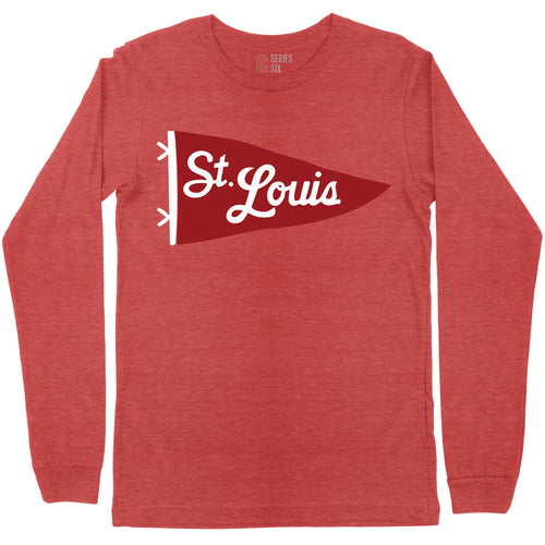 St. Louis Pennant Unisex Long Sleeve T-Shirt - Red