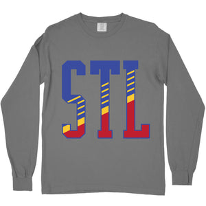 STL Retro Diagonal Unisex Long Sleeve T-Shirt - Grey