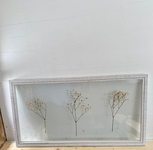 Dried baby's breath in a white 10x20 wooden float frame