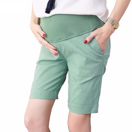 Colored Linen Maternity Shorts For Belly Care