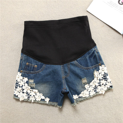 Fashioned Denim Maternity Shorts for Pregnant Women