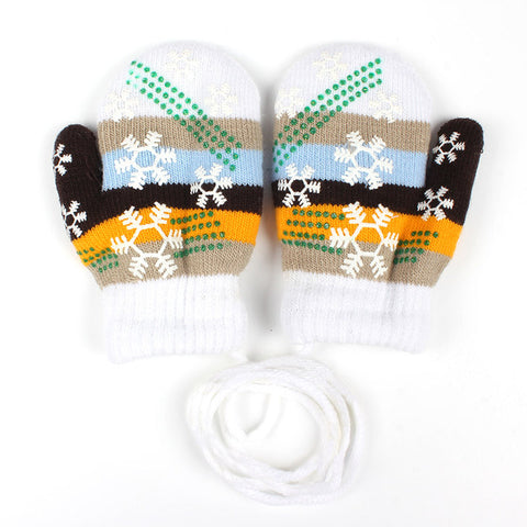 Baby Gloves Snowflakes Stripe