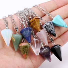 Natural Crystal Healing Chakra  Necklace