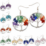 Tree Of Life Wrapped Tumbled Stone Earrings