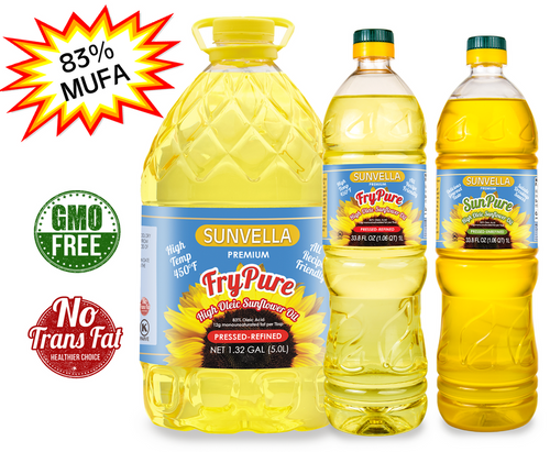 SUNVELLA Best Value Pack (1) FryPure 1.32 GAL (1) FryPure 33.8 Fl Oz (1) SunPure 33.8 Fl Oz (Total 3)