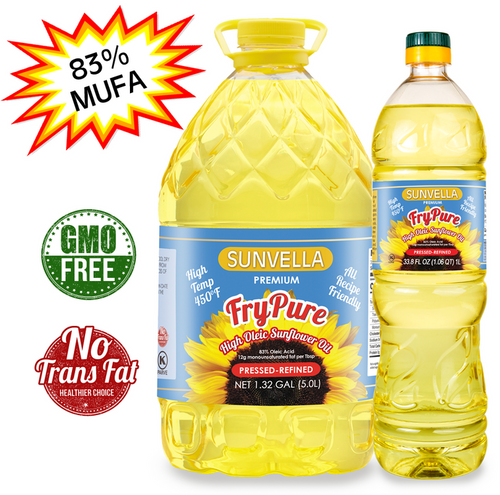 SUNVELLA Variety Pack (1) FryPure 1.32 GAL (1) FryPure 33.8 Fl Oz (Total 2)
