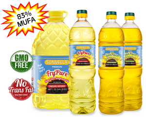 SUNVELLA Variety Pack (1) FryPure 1.32 GAL (1) FryPure 33.8 Fl Oz (2) SunPure 33.8 Fl Oz (Total 4)