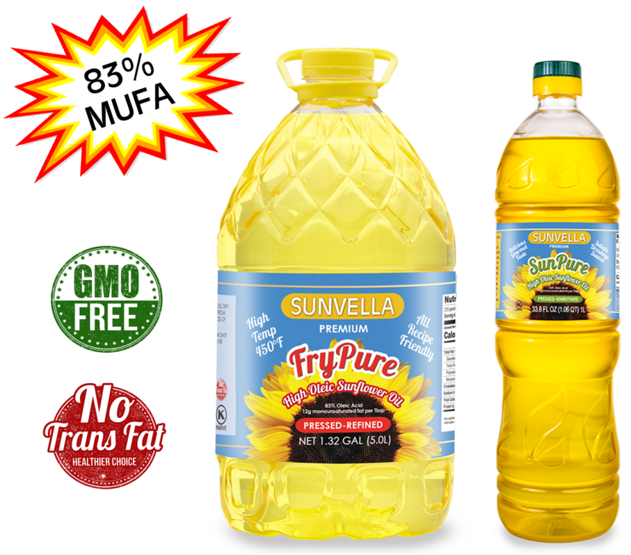 SUNVELLA High Oleic Sunflower Oil Variety Pack (1) FryPure 1.32 GAL (1) SunPure 33.8 Fl Oz (Total 2)