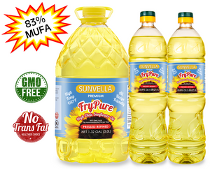 SUNVELLA Variety Pack (1) FryPure 1.32 GAL (2) FryPure 33.8 Fl Oz (Total 3)