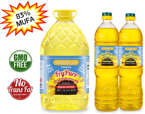 SUNVELLA High Oleic Sunflower Oil Variety Pack (1) FryPure 1.32 GAL (2) SunPure 33.8 Fl Oz (Total 3)