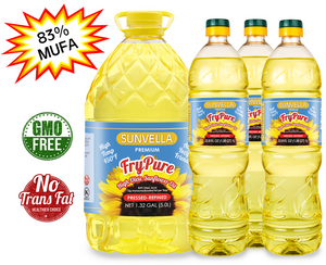 SUNVELLA Variety Pack (1) FryPure 1.32 GAL (3) FryPure 33.8 Fl Oz (Total 4)