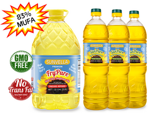 SUNVELLA High Oleic Sunflower Oil Variety Pack (1) FryPure 1.32 GAL (3) SunPure 33.8 Fl Oz (Total 4)