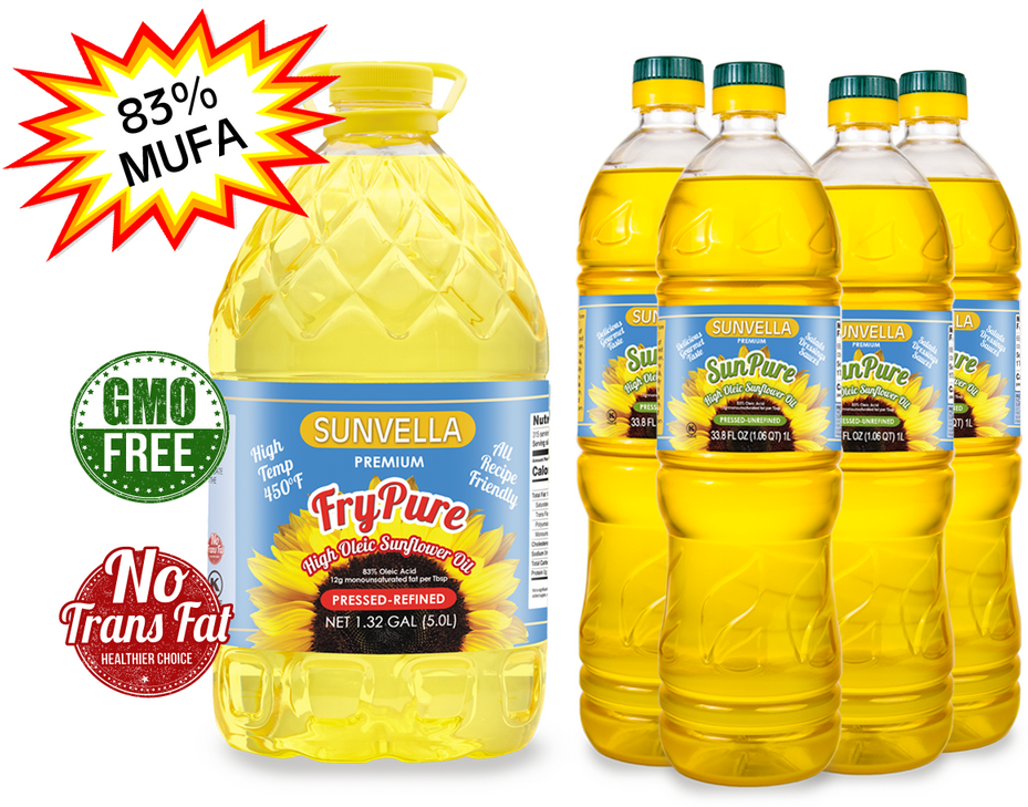 SUNVELLA High Oleic Sunflower Oil Variety Pack (1) FryPure 1.32 GAL (4) SunPure 33.8 Fl Oz (Total 5)