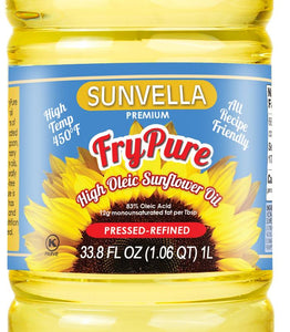 SUNVELLA FryPure Pressed-Refined High Oleic Sunflower Oil 33.8 Fl Oz (1.06 QT) 1L