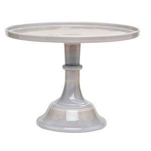 "Mosser Glass 12"" Cake Plate Marble Grey"