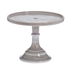 "Mosser Glass 9"" Cake Plate Marble Grey"