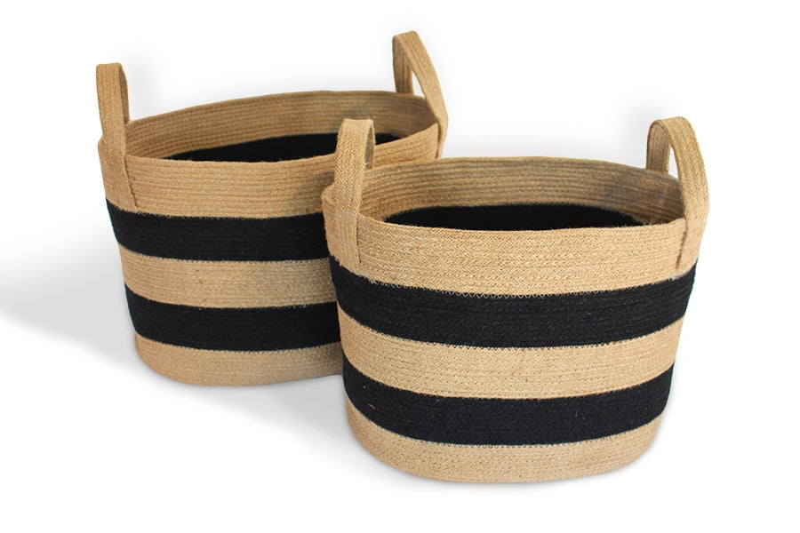 Oval Tan and Black Striped Basket