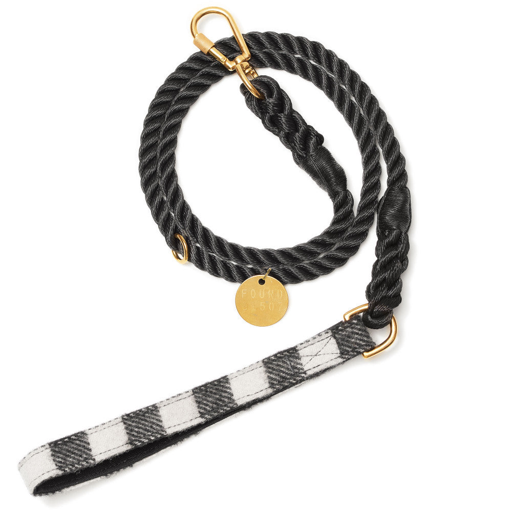 Found Plaid Wool Leash w/ Handle Black and White Plaid