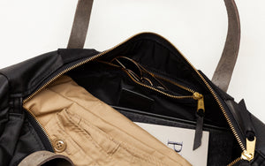 Joshu + Vela Small Duffle in Black Waxed Denim