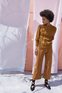 Apiece Apart Ermita Cable Stitch Puff Sleeve Sweater in Ochre