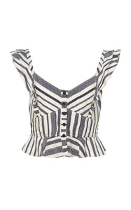 Marissa Webb Ezra Top in Ivory with Navy Stripes