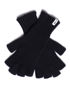 American Trench Merino Wool Fingerless Gloves in Black