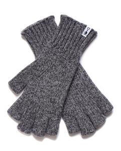 American Trench Merino Wool Fingerless Gloves in Grey