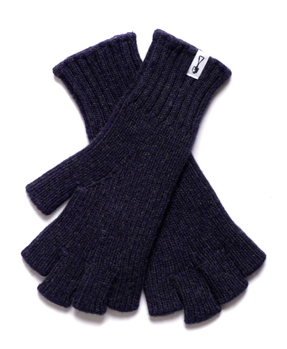 American Trench Merino Wool Fingerless Gloves in Navy